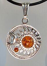 "Celestial Sun & Moon Sterling Silver Baltic 1"" x 1"" Honey Amber Pendant 18"" Cord"