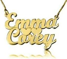 PERSONALIZED TWO 2 NAMES SINGLE NAME PLATE NECKLACE CHAIN HEARTS/GIFT/JEWELRY
