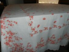 """New listing Vintage print pinks white floral scalloped red 57 x 93"""" fabric tablecloth"""