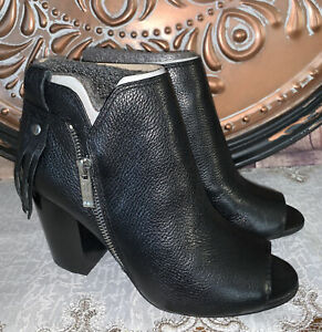 Marc Fisher Black Leather Novice Peep-toe Ankle Bootie 7 NEW