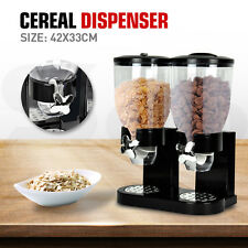 DOUBLE CEREAL DISPENSER DRY FOOD STORAGE CONTAINER DISPENSE MACHINE BLACK