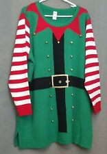 Holiday Time Women's 3x Christmas Elf Tunic Ugly Sweater Green Embellished Bells