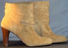 Nine West Shoes 7.5 M Ankle Booties Boots Heels High Low Tan Suede Pull On