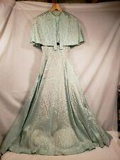Vintage Evening Gown w/ Shoulder Cover, Mint Green w/Flowers, Black Velvet Belt