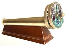 """Vintage 10"""" Brass Kaleidoscope With Double Spinning Wheels & Wood Display Stand"""