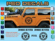 Jeep Wrangler 5 Piece Zombie Hood Decal Sticker rubicon sahara #SH-130