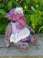 Teddy stuffed elephant in clothes. OOAK art doll