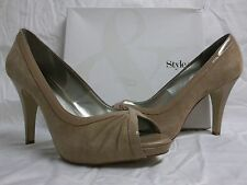 Style & Co Size 9 M Spicey Clay Leather Open Toe Pumps New Womens Shoes