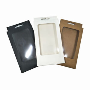 10x17x1.5cm Kraft Paper With Clear Window Hang Hole Box For Phone Case Package