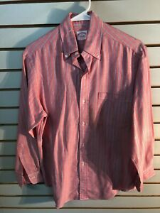 Vtg. Men's Brooks Brothers Red Cotton Blend L/S Button-Up Dress Shirt-Size:14.5R