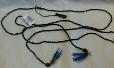 Urban Outfitters 49 Inch Long Glass Beaded Feather End Wrap Around Necklace