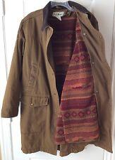 LL Bean Mens Medium Country Western Chore Jacket Coat, Removable Sherpa Lining
