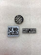 3 x Crass ANTI WAR Pin Badges Anarcho Punk Rock Steve Ignorant Peace Punks WOW!!