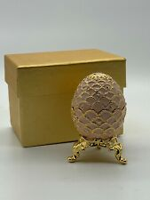 Pink Enamel Egg Trinket Box with Stand Crystals Decorative Metal Jewels