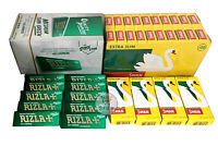 NEW 1200 RIZLA GREEN ROLLING PAPERS & 1200 SWAN EXTRA SLIM FILTER TIPS ORIGINAL