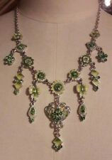 Chunky Green Rhinestone Necklace/Vintage Paste Look/Occasion/Sparkly/Evening