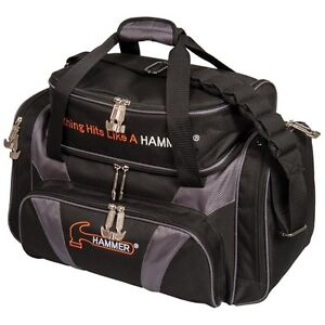 Hammer Deluxe Double BLACK/CARBON 2 Ball Bowling Bag