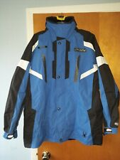 Spyder Mens Winter Ski Snowboarding Blue and black Coat with hood 2XL