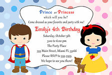 30 Prince Princess Invitation Cards Kids Birthday Party Invites Red Blue A1