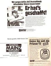 Ältere BHW Bausparkasse Werbung Reklame - 2 Anzeigen Annoncen 1973 + 77 - Hameln