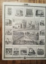 Antique Engraving -  RES. OF C.W. NORTON + OTHER VIEWS- Andreas Atlas Co. 1875