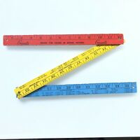 Vintage Red, Yellow, Blue Folding Wooden Ruler Yard Stick Grants Sewing Notions
