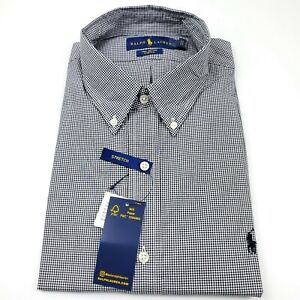 Ralph Lauren Long Sleeve Button Down Shirt Mens XL Gingham Check Black & White
