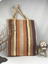 Jute Woven Vintage Beach or Market Tote Striped Bag Straw Striped Sisal Tall