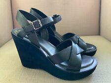 Kork-Ease Black Leather Wedge Sandals Womens US 10