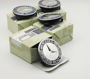 4x For Mercedes-Benz AMG SL C E S A 75mm Wheel Centre Caps Hub Chrome Blue Logo