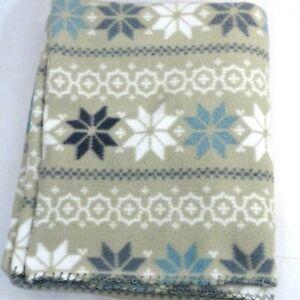 """Cannon Throw Blanket Snowflake Print Tan White Blue 47.5"""" x 59"""" Bed"""