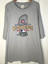 Majestic Men's (Size 4XL) 2016 Chicago Cubs World Series Champions Gray Shirt
