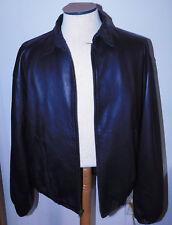 Polo Ralph Lauren Black Leather Jacket Sz XL Zipper Elastic Sleeves Waist