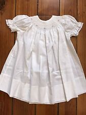 Hand SMOCKED Hand Sewn Dress Sz 2T White