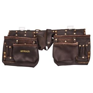 12 Pocket Heavy Duty Leather Tool Belt Pouch Carpenter Builder Oil Tanned