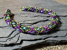 Chainmaille bracelet aluminum spring Purple sky blue lime byzantine
