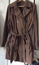 Ladies Dorothy perkins Trench Coat Brown Cotton Brass Features Autumn Size16 Vgc