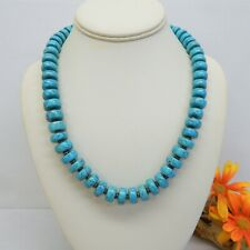 """TURQUOISE COLORED STONE BEAD NECKLACE 20"""" LONG"""