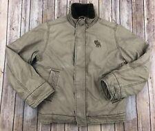 ABERCROMBIE & FITCH ADIRONDACK Khaki Tan Faux Fur Jacket Women's XL