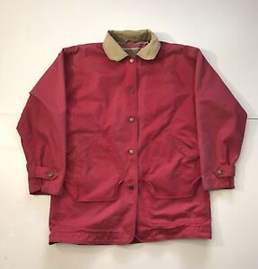 Vintage WOOLRICH Brick Red Chore Barn Field Jacket Coat Navajo Aztec Lined 90s