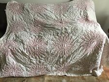 Vintage Antique Patchwork QUILT Hand Quilted signatures names red & white