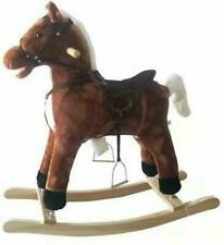Kids Toy Rocking Horse Wood Plush Riding Traditional Gift With Music Brown UK