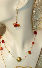 MURANO GLASS MADE IN ITALY Autumn -  Necklace & Earrings OVERNIGHT 2 You