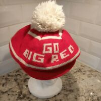 Vintage Nebraska Cornhuskers Knit Hat Pom Brim Stocking Cap Go Big Red