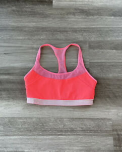Under Armour Girls Youth Hot Neon Pink Sports Bra M Racerback