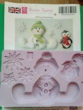 Karen Davies Sitting Snowman Snowflakes penguin.Christmas Cake Sugarcraft Mould