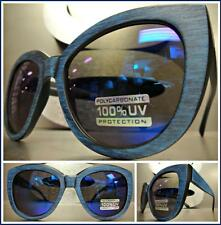 CLASSIC VINTAGE RETRO CAT EYE Style SUN GLASSES Blue & Black Frame Mirror Lens