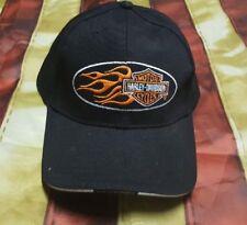 HARLEY DAVIDSON ORANGE BAR SHIELD FLAMES BLACK HAT CAP New