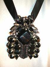 Liberty of London jewelled pendant  Black glass set in silver colour metal   NEW