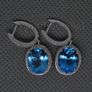 Real 14K White Gold Diamond 7.39ct Bule Topaz Engagement Gemstone Earrings
